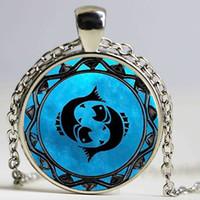 pingente de pisces do zodíaco venda por atacado-Zodíaco Leo símbolo pingente pisces azul pisces colar do zodíaco Libra astrologia Sagitário horóscopo jóias Escorpião jóias