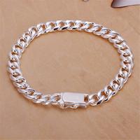 925 armband überzogen großhandel-8MM Seitenkette Handkette - männlich Geld Sterling Silber überzogene Armband; Heißer Verkauf Männer und Frauen 925 Silber Armband SPB227