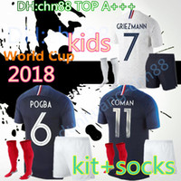 Wholesale kids boys wear - 2018 World Cup mbappe kids kit + socks soccer Jersey 18 19 3A+ PAYET POGBA GRIEZMANN KANTE MATUIDI Mbappé COMAN Jerseys Football shirt wear