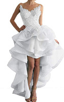 uzun geri kısa ön mezuniyet elbisesi toptan satış-2018 Seksi Backless A-line Mezuniyet Elbiseleri Dantel Aplikler Ön Kısa Geri Uzun Mezuniyet Balo Kokteyl Elbise Parti için Giymek