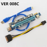 kablo ve kablo 1x 16x toptan satış-VER 008C VER008C Molex 6 pin PCI-E PCIE Express 1X 16X Yükseltici Kart Genişletici Için 60 cm USB3.0 Kablo Madencilik Bitcoin Madenci 30 adet / grup