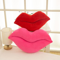 Wholesale Lovely Pink Cushions - Lovely Funny Pillow Lips Design Plush Stuffed Decoration Cotton Bolster Comfortable Back Cushion For Girls 6 86rc B