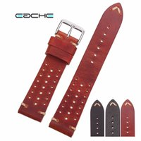 Wholesale vegetable tanning - EACHE Special Design Hole Version Handmade Vegetable Tanned Genuine Leather Watchband Classical Design Different colors18 20 22