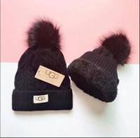 Wholesale womens crochet beanie resale online - Quality thickening Fur Pom Ball Knitted Acrylic Beanies Winter Warmer Plain Hats Adults Kids Children Slouchy Mens Womens Snow Cap