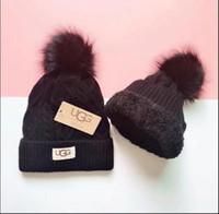 kedicik şapkası toptan satış-Kalite kalınlaşma Kürk Pom Topu Örme Akrilik Kasketleri Kış Isıtıcı Düz Şapka Yetişkin Çocuk Çocuk Hımbıl Mens Womens Kar Kap