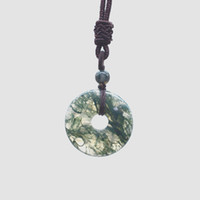Wholesale fine chinese jewelry for sale - Group buy Chinese style Hand carved pingan kou lucky Amulet fine jewelry Water grass agate Necklace safety button Pendant gift