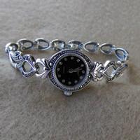 925 saat toptan satış-Lüks İzle tasarımcı 925 ayar gümüş kol MARCASITE hediye 925 gümüş kadın saatler zirkon kuvars marka basit (ayrılabilir)
