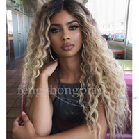 longa ombre peruca humana natural venda por atacado-FZP Brasileira Completa Médio Longo Simulação Peruca de cabelo Humano Onda Natural Ombre Peruca Loira Para As Mulheres Negras