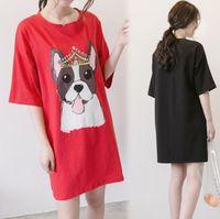 Wholesale 3xl dog clothing - Dog T-shirt Dress Women New Casual Pregnant Dress Women Clothing Red Black Dresses Plus Size XL-5XL