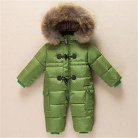 Wholesale baby boy new year suit resale online - Winter New born Baby Clothes Conjoined Down Jacket Baby Boys Girls Thickening Jumpsuits with Real Fur Kids Snow Suit Years
