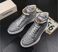 sapatos de chapa de prata preta venda por atacado-2018 HOT Popular prata Preto alto Lace-Up Sapatos Casuais Homens Moda Rebite Botas Curtas Altura do Homem Placa de Casamento vestido sapatos G3