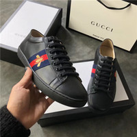 Wholesale flat wedge sneakers - 2018 New Flattie Slip On G Shoes Fashion Snake Embroidery White Leather Sneakers For Men Women Luxury Loafers Flattie For Women