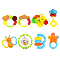 Wholesale Teether Rattle Set - Wholesale- Baby Toys Plastic Hand Jingle Shaking Bell Infant Soft Newborn Baby Toys 0-12 Mnoths Teether Rattles Toys