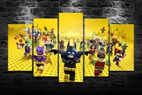 Wholesale Hd Movie Pictures - Newest HD Printed Lego Batman Movie Oil Painting Home Decoration Wall Art On Canvas Cobblestone Christmas 5PCS Unframed