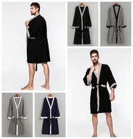 Wholesale sleepwear men long sleeve cotton - Waffle Cotton Kimono Bathrobes Sexy Men Robe Three-quarter Solid Color Soft Breathable Lightweight Long Robe With Belt DDA665 Sleepwear