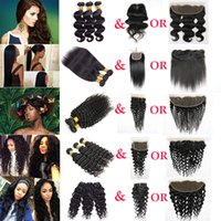 Wholesale Water Wave Human Hair Weave - Peruvian Hair Bundles with Closure Straight Body Wave Hair Weave Bundles Lace Frontal Deep Water Human Hair Kinky Curly Bundles with Frontal