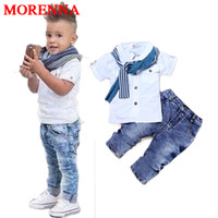 Wholesale Short Jeans For Kids - MORENNA Baby Boy Clothes Casual T-Shirt+Scarf+Jeans 3pc Baby Clothing Set Summer Child Kids Costume For Boys 2017 Toddler Boys Clothes