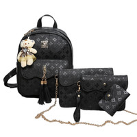 Wholesale Bear Christmas Cards - Korea Style 4ps set Rucksack Solid Color Leather Rivet Backpack Small Bear School Bags Composite Shoulder Clutches Bag Card Bags