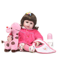 """Wholesale Pink Doll Clothes - 20"""" bebe doll reborn toys soft cloth body silicone reborn babies pink clothing set girl dolls toys xmas gift bonecas"""