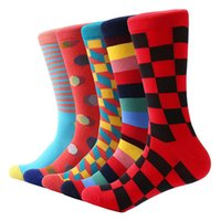 Wholesale brand men cotton business socks resale online - Fashion Combed Cotton Brand New Men Socks Colorful Dress Socks Wedding Sock Business Sock Pairs