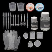 ingrosso kit diy dei monili-Stampi per ciondoli in resina epossidica fai-da-te Kit di strumenti per la creazione di gioielli necessari Resina AB colla