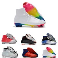Wholesale blue mercurial superfly online - High Top Mens Kids Soccer Shoes Mercurial CR7 Superfly V FG Boys Football Boots Magista Obra Women Youth Soccer Cleats Cristiano Ronaldo