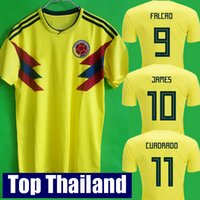 Wholesale Xl Tops - Top thailand National JAMES 10 COLOMBIA soccer jerseys 2018 World Cup Jersey FALCAO CUADRADO BACCA Football soccer shirt camisetas maillot