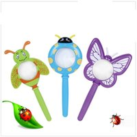 Wholesale birthday plastic glasses online - Kid Handheld Plastic Funny Cartoon Magnifier Kindergarten Insect Modeling Birthday Present Creative Small Toy Reading Glass dr W