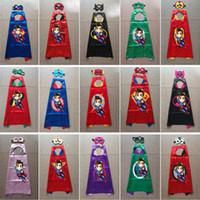 Wholesale halloween mascot costume - Double Side 70*70CM Superhero Cape and mask Superhero Cosplay Costumes Halloween Party satin cape felt mask for Kids mascot costumes