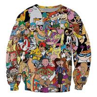adam kadın giysileri karikatür toptan satış-Yeni Moda Ünlü Karikatür Karakter Komik 3d Baskı Sigara Terlemeleri Moda Giyim Kadın Erkek Kazak Rahat Kazaklar K90