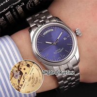Wholesale glamour red - Luxury Brand 39mm New Glamour DayDate Steel Case Blue Dial 56000-68060 Miyota Automatic Mens Watch 8 Styles Sports Watches Sapphire TD64c3
