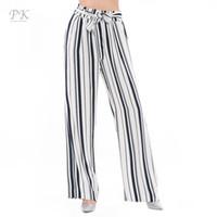 Wholesale Drawstring Loose Leggings - Wholesale-PK Wide Leg Pants High Waist Pants Women Summer 2017 Navy Stripe Women Leggings Pantacourt Femme Women Pants Bottom Trousers