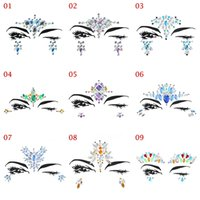Wholesale eye tattoo crystal - 1Sheet Handpicked Bohemia Tribal Style 3D Crystal Sticker Face And Eye Jewels Forehead Stage Decor Temporary Tattoo Sticker