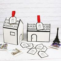 kleine haus geschenk-boxen groihandel-Kleines Haus-Papier-Verpackungs-Kasten mit Umbau-Band-Nugat-Plätzchen-Süßigkeit-Kasten-Hochzeits-Geschenk-Gastgeschenk-Verpackung