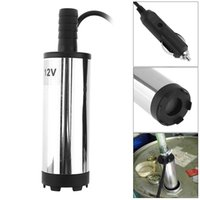 Wholesale 12v dc water pumps resale online - DC V MM Portable Stainless Steel Car Electric Submersible Pump Fuel Water Oil Barrel Pump with Car Charger FSS_106