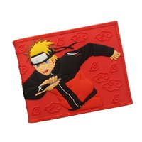Wholesale naruto wallets - NARUTO Wallet Japanese Fashion Cartoon Purses 3D Pattern Printing Comics Wallet Young Men Boys PVC Money Bag Card Holder Wallet