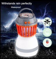 Wholesale Lanterns Flying - Bug Zapper Camping Lantern 2 In 1 LED Light Mosquito Insect Killer Zapper Waterproof Solar LED Rechargeable Light Traveling Use KKA5440
