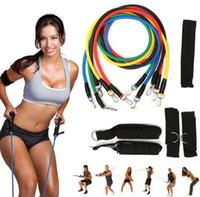 Wholesale pc workouts - 11 Pcs Set Resistance Band Yoga Pilates Yoga Workout Body Exercise Fitness Tube Workout Bands EEA235 10PCS