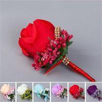 ipek çiçek boutonnieres toptan satış-Düğün Adam Yaka Çiceği Leke Ipek Gül Çiçek Damat Sağdıç Çiçek Pin Broş Korsaj Suit Dekorasyon Çiçekler Parti Malzemeleri 5 3bc bb