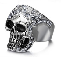 Wholesale Skull Wings Rings - Skull Ring Men's Vintage Gothic Stainless Steel Rings Skull Wings Motorcycle Biker Rings with CZ Size 8-12 Hot sale