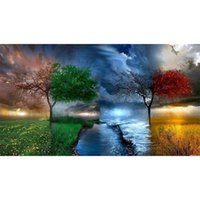 Wholesale Seasons Painting - Four Season Tree DIY Diamond Painting Cross Stitch Craft Kit Wall Stickers for Living Room Decoration