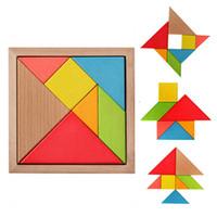 hölzerne geschenke für kinder großhandel-DHL Bunte Holz Tangram 7 Teile / satz Puzzle Platz block IQ Spiel Intelligente Lernspielzeug beste geschenke für Kinder H162