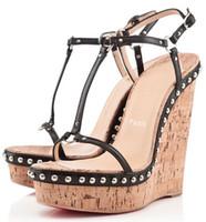 gelin ayakkabıları kama topuk toptan satış-Yaz Tarzı Sandalias Gladyatör Kadın Ayakkabı Yüksek Topuklu Takozlar Sandalet kadın Kırmızı Alt Bayanlar Sandalet Parti, Düğün, Gelin - Mükemmel SWE