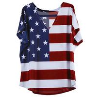 bandera americana chaleco mujer al por mayor-Moda Verano Señora Chaleco Mujeres Bandera Americana Loose 4th of July manga corta T-shirt Tops Blusa