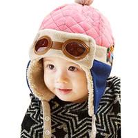 baby pilot beanie mützen großhandel-Baby-Winter-Hut 4 Farben-Kleinkind-kühler Baby-Jungen-Mädchen-Kind-Winter-Pilot-warme Kinderkappen-Hut Beanie 10 bis 48 Monate