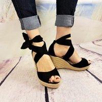 calcanhares de sandálias de atadura venda por atacado-Senhoras Thich Saltos Bow Nó Flock Summer Partido Sandálias Sapatos Mulheres Gladiador Atadura Lace Up Cunha Plana Sandálias Sapatos de Plataforma