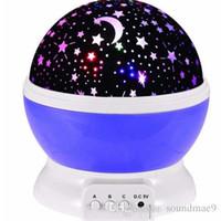 sternlichter für babyzimmer großhandel-Neueste Romantische Zimmer Neuheit Nachtlicht Projektorlampe Rotary Flashing Sternenhimmel Mond Sky Star Projektor Für Kinder Baby Retailpackage