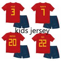 camisetas de fútbol españa al por mayor-2018 World Cup Spain camisetas de fútbol para niños INIESTA RAMOS camiseta de fútbol chico MORATA ASENSIO camiseta ISCO camisas de futebol