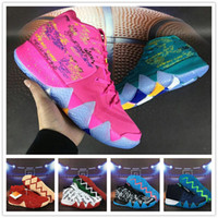 Wholesale Blue Green Obsidian - 2018 Super AAA+ quality Kyrie 4 Christmas BHM Tie Dye Multicolor Obsidian City Basketball Shoes for Kyrie4 Irving 4s Sports Sneakers US 7-12