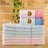 Wholesale children size towel resale online - 100 Cotton Cute Cartoon Embroidery Hand Towel Soft Absorbent Bathroom Face Towel Home Textiles x34cm Size